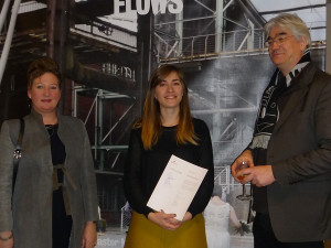 KABK's Director Marieke Schoenmakers (left) awarded her first KABK (Master) Diploma to INSIDE's Graduate Photeini Mermyga (middle)